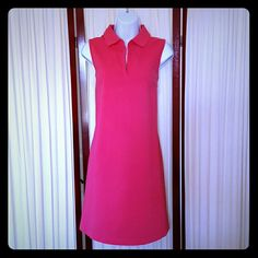 Sleeveless Polo Dress Bright pink sporty polo-inspired sleeveless dress Expressions Dresses