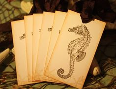 Vintage Sea Horse & Star Fish Tags  By A Sweet Little Note