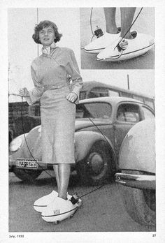 CAR SHOES! Gasoline powered with MODEL CAR ENGINES! Lady is using throttle cables. Car shoes were produced in Germany by NSU. Note German plates on 1951 bug in background. FREAK RIDES consultant Wally corrected previous caption which I used out of ignorance.