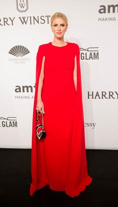 Pin for Later: The Stars Kicked Off NYFW in Style at Last Night's amfAR Gala Nicky Hilton Is Nicky pulling a Lupita? We're all about the cape dress trend right now.