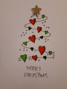 Christmas hearts card : Based on a pin spotted on another board, I refined the design a little. Really enjoyed making a small batch of these to give to family for Christmas 2018 Christmas Doodles, Christmas Hearts, Christmas Cards To Make, Noel Christmas, Homemade Christmas, Xmas Cards, Christmas Decorations, Christmas Palace, Christmas Ideas