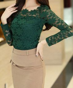 Forest Green lace with Beige skirt is an excellent color combo.