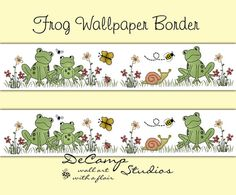 FROG WALLPAPER BORDER Decals Baby Woodland Forest Animal Nursery #decampstudios