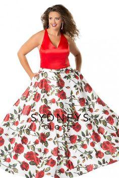 3ddcd7f90f Sydneys Closet SC7234 Floral Print Plus Size Prom Gown