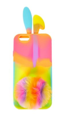 Warm notes of vanilla radiate from your phone with this tie-dye phone case. The soft touch silicone case decorates your phone in bright fun colors with a pom pom tail and 3D bunny ears.