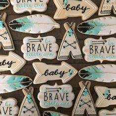 Turquoise & Black 'Be Brave Little One' Powwow Cookies