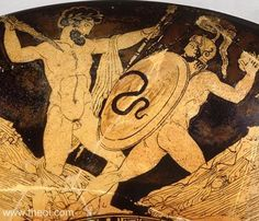 Zeus battling the giant Porphyrion | Greek vase, Athenian red figure kylix