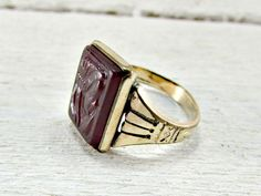 Vintage Mens Medieval Ring, Mens Red Carved Cameo Ring, Mens Gold Pinky Ring, Cool Mens Ring Gifts, Size 7, 1960s Unique Mens Jewelry by RedGarnetVintage