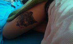 #tattoo #girl #womantattoo #wolf #wolftattoo #wolf #dog #dogtattoo #legstattoo