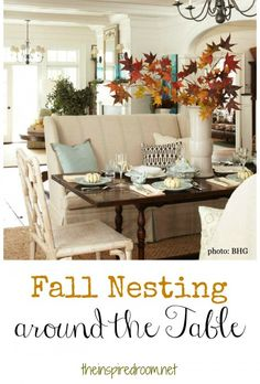 dining rooms, fall leaves, fall table, seat, dining spaces, fall decorating, sette, decorating tables, dining tables