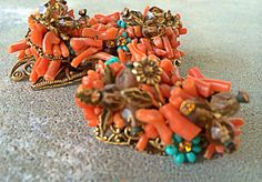 Vintage early Miriam Haskell Spetzy coral and turquoise by illume