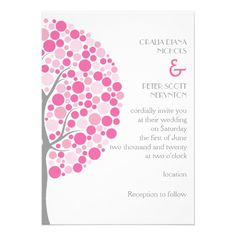 Circle abstract tree in pink, grey wedding personalized invitation.  $2.30