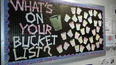RA bulletin board: I used my cricut to cut out all of the buckets. The large one has pens in it. Residents write something from their own bucket list on the rim of the bucket for all to see!
