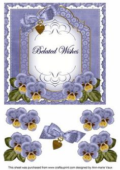 Blue Pansy Belated Wishes Fancy 7in Decoupage Topper on Craftsuprint - Add To Basket!