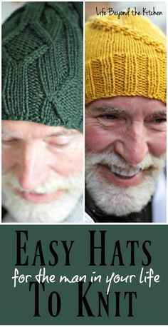 Sewing Gifts For Men Easy Hats to Knit for the Men in Your Life ~ Life Beyond the Kitchen - It can be difficult to find patterns for masculine knit hats. These two fit the bill with boldly colored yarn and simple designs that don't overwhelm. Easy Knit Hat, Crochet Scarf Easy, Knit Hat For Men, Hat For Man, Crochet Hats, Knitting Wool, Knitting Hats, Tear, Bandeau