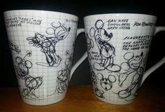 Walt Disney Pair Set Two Mickey & Minnie Mouse Sketch Book Coffee Cups Mugs 2008