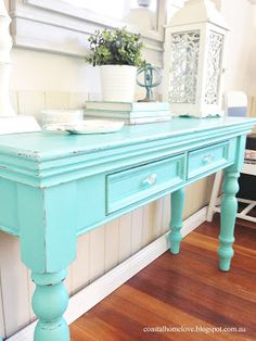 Coastal Home Love: Aqualicious Hall Table and Mirror Makeover! (HoH154)