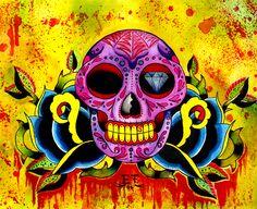 Calavera Request by MummysLittleMonster on DeviantArt Dark Fantasy Art, Dark Art, Crown Art, Halloween Boo, Great Tattoos, Skull And Bones, Painting & Drawing, Graffiti, My Arts