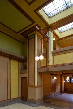 Designed by the American architect Frank Lloyd Wright and built between 1905 and Unity Temple is considered to be one of Wright's most important struct. Frank Lloyd Wright, Temple, Mid Century Design, Interior Inspiration, Unity, Craftsman, Architecture Design, Sweet Home, Ceiling Lights