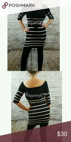 Black White Striped Sweater Dress by Noble U Like New condition, worn once. Scoop wide neck, size M. Rayon/ Nylon blend. Half sleeve length. Dress length hits above knee. Comes with black belt. Bodycon style. Noble U Dresses Midi
