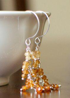 Hessonite Garnet Earrings Wire Wrapped by StellaZigantiDesigns, $49.00