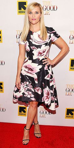Last Night's Look: Love It or Leave It? | REESE WITHERSPOON | She went brunette for her movie The Good Lie, but Reese is back to blonde (and beaming) while promoting the film at its Washington, D.C. premiere, wearing a gardenia-printed Dior dress and Stuart Weitzman sandals.