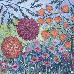 Autumn Garden Square Blank Greeting Card by Artist Jo Grundy Range Art Cards Stitch Games, Contemporary Decorative Art, Free Motion Embroidery, Embroidery Ideas, Art Folder, Autumn Garden, Autumn Art, Winter Art, Naive Art