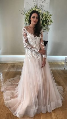 04a45f7569f5 Alba wedding dress by Kelly Faetanini in Blush // Beaded, embroidered long  sleeve illusion