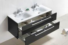 € 899,- Lambini Designs Roma badmeubel - Hoogglans antraciet - 120x46x52cm - 2 kraangaten incl. Spiegel. Ook leverbaar in hoogglans wit  #meubel #keramiek #wastafel