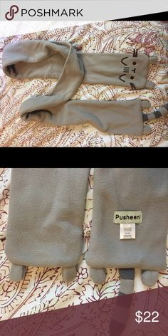 Pusheen the Cat Winter Scarf Official Pusheen merchandise, limited edition run. Never used. Grey scarf with Pusheen face and cute legs and tail. Brand added for exposure. Forever 21 Accessories Scarves & Wraps