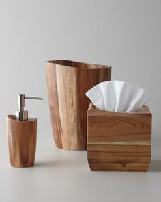 Acacia Wood Vanity Accessories by Kassatex at Horchow.
