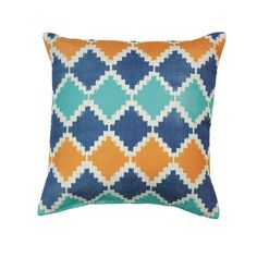 """SOUTHWESTERN DIAMOND THROW PILLOW #17131 by Fat Kat De'cor SOUTHWESTERN DIAMOND THROW PILLOWby Accent PlusThis Southwestern pattern got a modern makeover with contemporary colors to make a fantastic throw pillow for your room. Blue, orange and teal mix and mingle on a neutral cover. Machine wash cold; do not bleach; do not tumble dry; cool iron. Dry clean safe. POLYESTER FABRIC: Weight 0.4 pounds: Dimensions 17"""" x 17"""" x 0""""#17131 $19.95"""