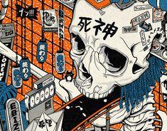 Neo-Tokyo, a japanese futuristic/cyberpunk city commission for Numerai's Erasure open source protocol. Lichtenstein Pop Art, Newspaper Background, Cyberpunk City, Vintage Newspaper, Different Art Styles, Orange Aesthetic, Japanese Aesthetic, Anime Japan, Aesthetic Design