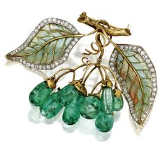 "Gold, Emerald, Diamond And Plique-Jour Enamel Brooch Signed ""Marcus & Co.""   c.1900 Sotheby's"