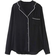 Black V-neck Contrast Trims Pajama Style Shirt ($30) ❤ liked on Polyvore featuring intimates, sleepwear and pajamas