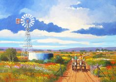 Willie Strydom - Namaqua Donkey Cart x Landscape Photos, Landscape Paintings, Oil Paintings, Beautiful Paintings, Beautiful Landscapes, Windmill Art, African Art Paintings, Farm Art, South African Artists