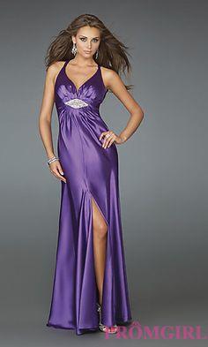Long V-Neck Open Back Gown by La Femme at PromGirl.com