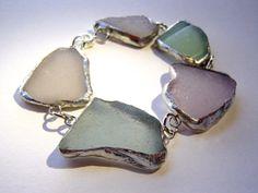 Stained Glass Purple, Blue, Seafoam Green & White Beach Glass Bracelet