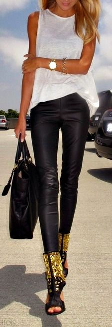 Leather pants + plain white tee + embellished peep-toed boots = FABULOUS.