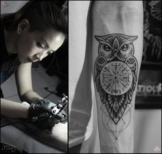 Owl Tattoo Camsy Valencia designs by camsy on DeviantArt Owl Forearm Tattoo, Owl Tattoo Chest, Owl Eye Tattoo, Mens Owl Tattoo, Calf Tattoo Men, Owl Tattoo Small, Owl Tattoo Drawings, Leg Tattoos, Small Tattoos