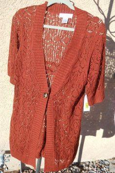 Judith Hart Sweater L Rust Brown Crochet Style Career Top Short Sleeve New w Tag #JudithHart #Cardigan