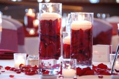 Red Wedding Table Centerpiece Decorations with Candles