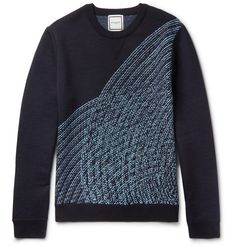 The wave-like motif seen on <a href='http://www.mrporter.com/mens/Designers/Wooyoungmi'>Wooyoungmi</a>'s sweater is inspired by Mr Sol LeWitt's 'Loopy Doopy' artwork. This navy and sky-blue design is densely knitted from wool for a thick and cosy texture. It has a semi-fitted shape that is defined by ribbed trims. Style it with the graphic peeking out from underneath bomber jackets or blazers, or simply wear over a crisp w...