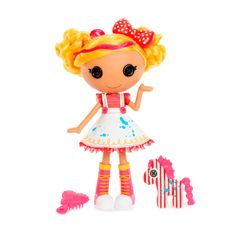 In Lalaloopsy Land, everyone is stitched together uniquely. Spot is the artist with a colorful and abstract view of the world. Her pet Zebra always inspires her. So come along and discover The Magic of Creativity!  Product Features: • Adorable Lalaloopsy doll now has a whole new look and yellow brushable hair  • Unique personality based on what she was made from, Spot was sewn from painter's overalls