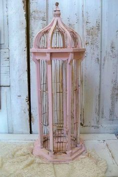 Large birdcage tall pink distressed wood and wire shabby chic home de…