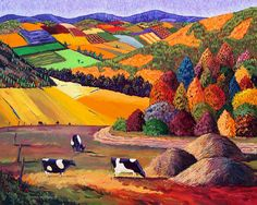 Gene Brown (born in Oregon, USA; BFA 1960 in Advertising Art from CA College of Arts & Crafts; freelance from Dallas since 1962): acrylic stylized landscape