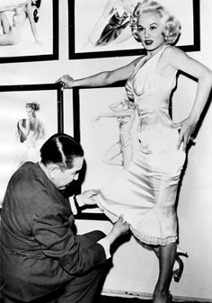 Pin-up artist Alberto Vargas with Mamie Van Doren c. 1955