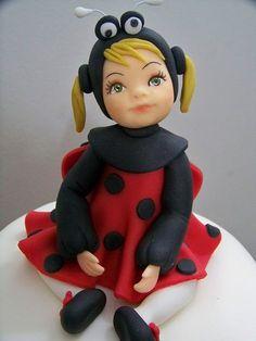 Little Lady Bug Girl  Can't believe it is cake!