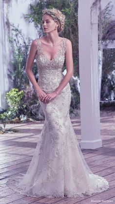 2fa73d2fc7 maggie sottero bridal fall 2016 sleeveless vneck sheath wedding dress  (greer) mv fully embellished