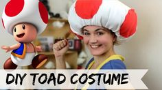 DIY Toad costume (No Sew). Hi guys, in todays video well be making a Toads costume . Mario Kart is one of my favorite video game ever and Toad is one of my go to character to play with =D If the base of your hat is not deep enough, cut a hole at the Toad Mario Costume, Bowser Costume, Luigi Costume, Super Mario Bros Costumes, Mario Halloween Costumes, Baby Halloween Costumes, Halloween Kostüm, Costumes, Toddler Girls